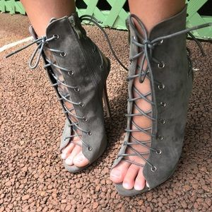 Lace up strappy bootie heel